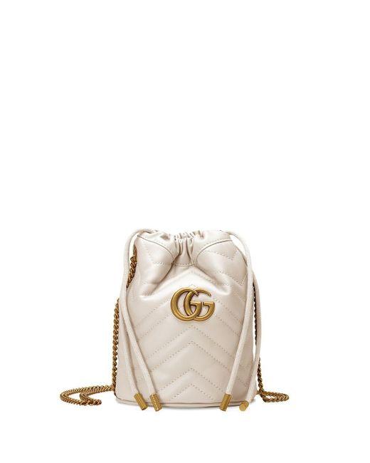 Gucci 【公式】 (グッチ)〔GGマーモント〕ミニ バケットバッグホワイト レザーホワイト White