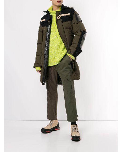 メンズ Sacai ステッチ フーデッドコート Multicolor