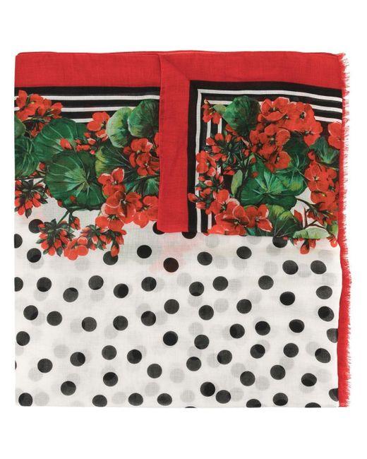 Dolce & Gabbana フローラル スカーフ Red