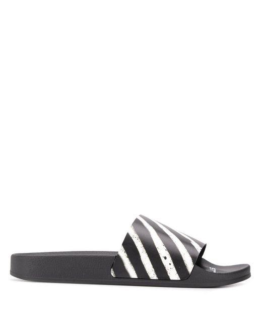 Off-White c/o Virgil Abloh Pantoletten mit diagonalen Streifen in Black für Herren