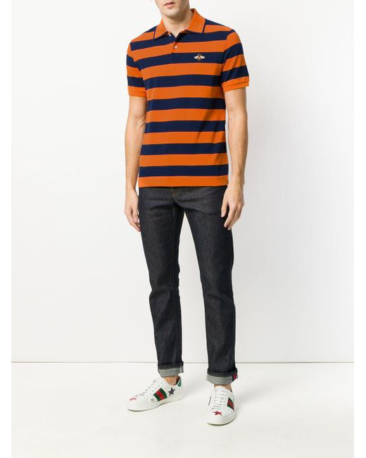 c9bf162b5d5 Lyst - Gucci Bee Patch Polo Shirt in Orange for Men