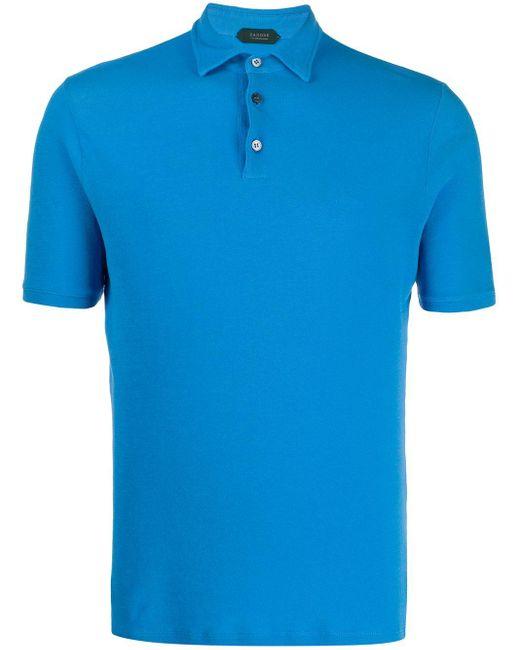 メンズ Zanone スリムフィット ポロシャツ Blue