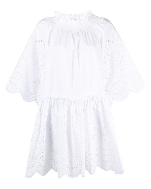P.A.R.O.S.H. フローラル シフトドレス White