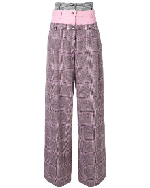 Natasha Zinko Pink Tripe Waist Wide Leg Trousers