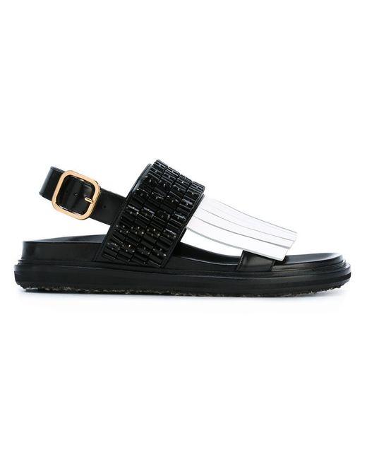 Marni   Black Embellished Fringed Fussbett Sandals   Lyst
