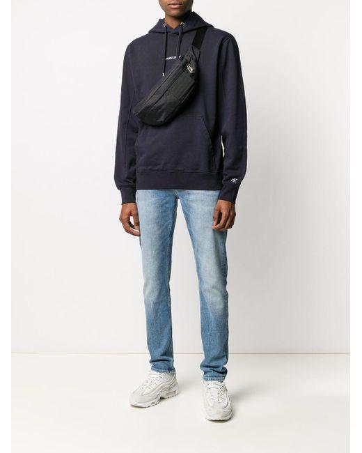 メンズ Calvin Klein ロゴ スウェットパーカー Blue