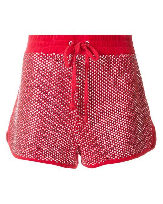 Велюровые Шорты С Кристаллами Swarovski Juicy Couture, цвет: Red