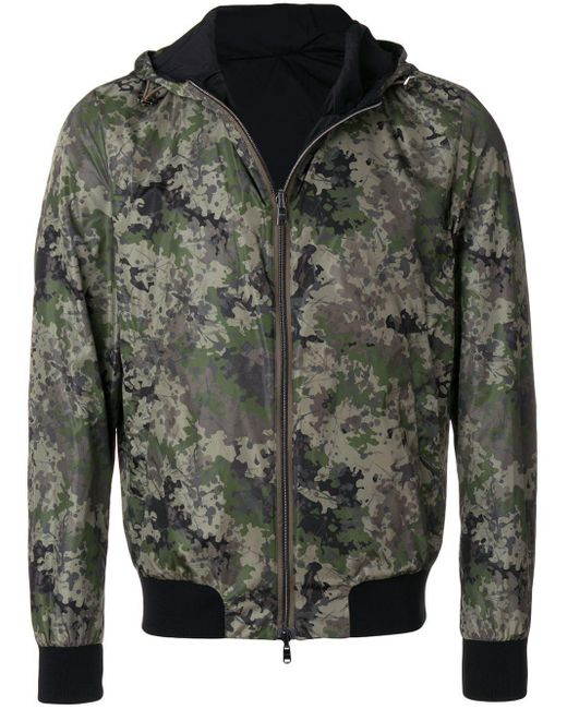 Herno Green Hooded Camouflage Bomber Jacket for men