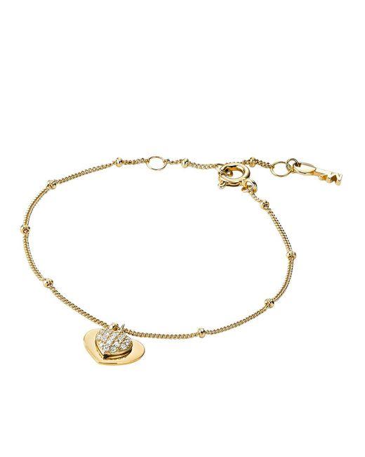 Michael Kors - Metallic Mkc1118an710 Love Heart Duo Bracelet Gold - Lyst