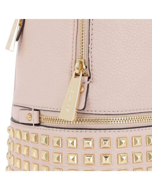 7dfc422511034 ... Michael Kors - Rhea Zip Medium Pyr Stud Backpack Soft Pink - Lyst ...
