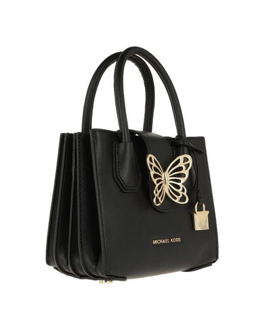 cba56c933c11 ... Michael Kors - Mercer Extra Small Acrdion Tab Shopping Bag Black - Lyst  ...
