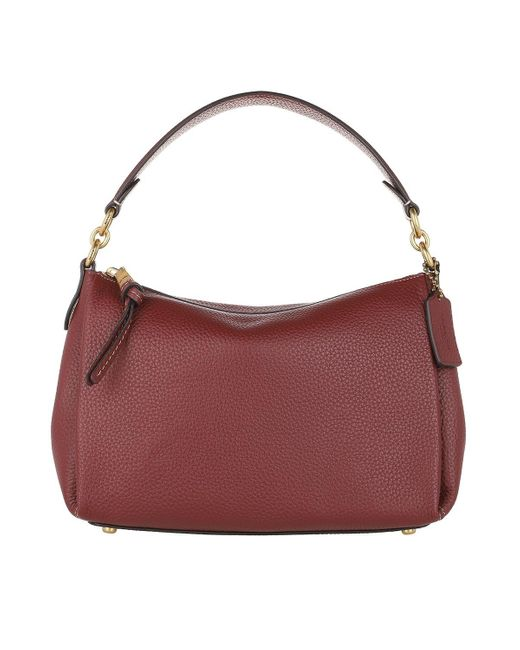 COACH Red Soft Pebble Leather Shay Crossbody