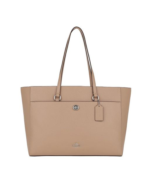 COACH Natural Crossgrain Leather Folio Tote Taupe