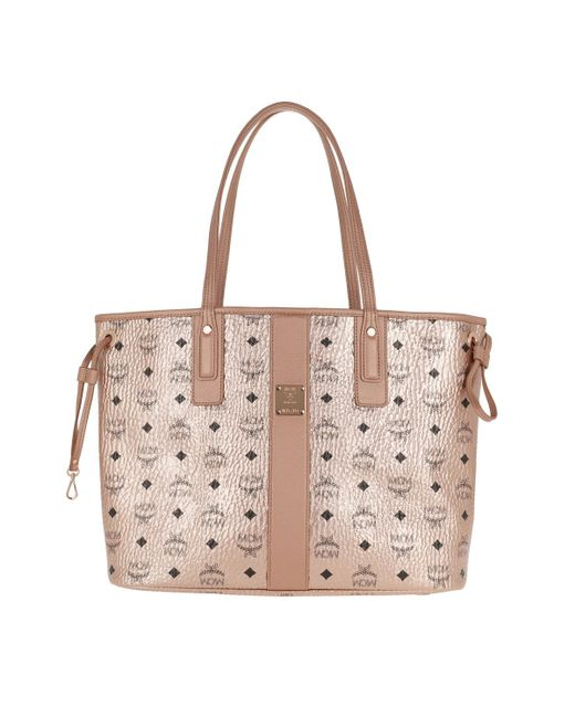 MCM - Metallic Shopper Project Visetos Reversible Shopper Medium Champagne Gold - Lyst