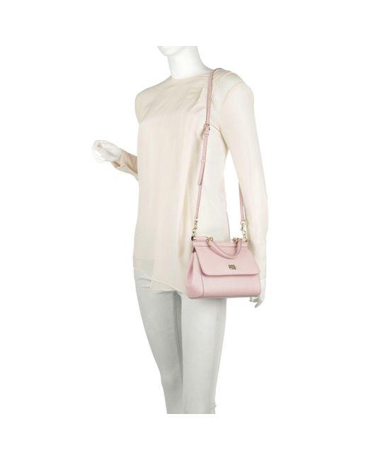 3abe13b58c82 ... Dolce   Gabbana - Pink Mini Bag Sicily Vitello Stampa Dauphine Rosa  Carne 2 ...