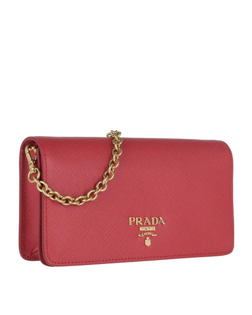 Prada Logo Wallet On Chain Saffiano Leather Fuoco in Red - Save 17 ... 697e949434ee5
