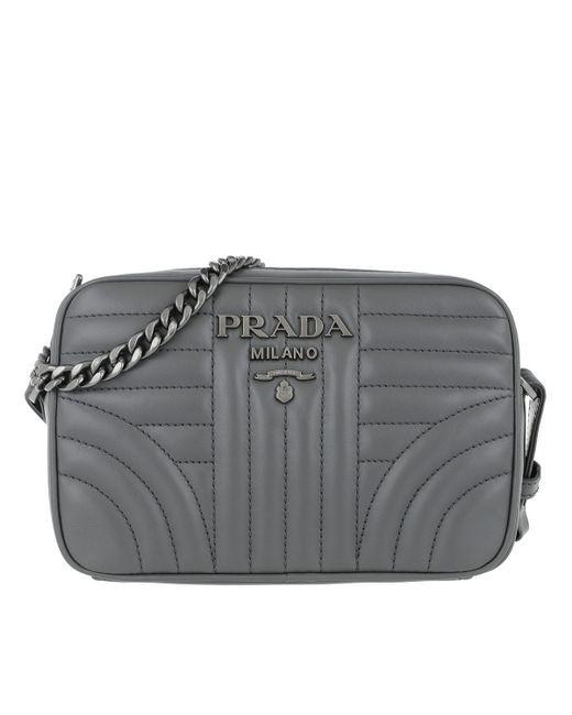 ba2e3ed17f6a ... sweden prada gray grey stripe diagramme leather cross body camera bag  lyst 0b7d8 e4725