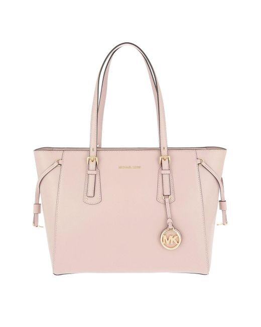 Michael Kors - Voyager Md Mf Tz Tote Soft Pink - Lyst