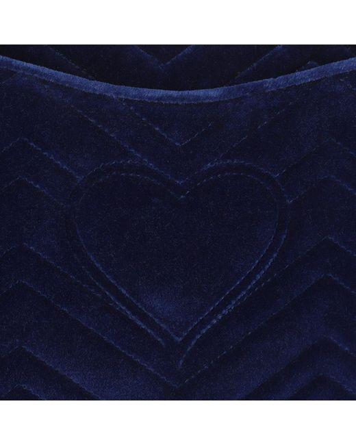 7570c0ecd67 ... Gucci - Blue GG Marmont Velvet Clutch Cobalt - Lyst ...