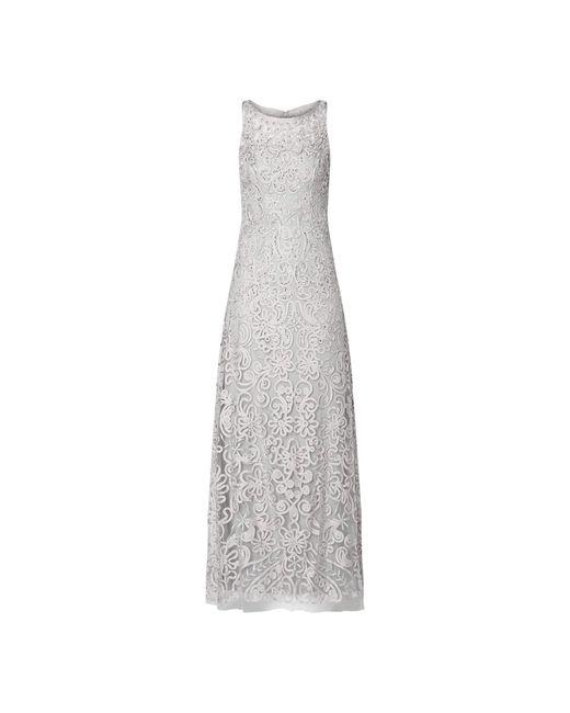 Luxuar Gray Abendkleid mit Ziersteinbesatz