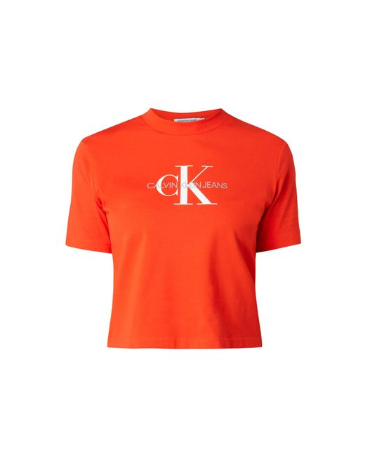 Calvin Klein Red Cropped T-Shirt - 'Better Cotton Initiative'