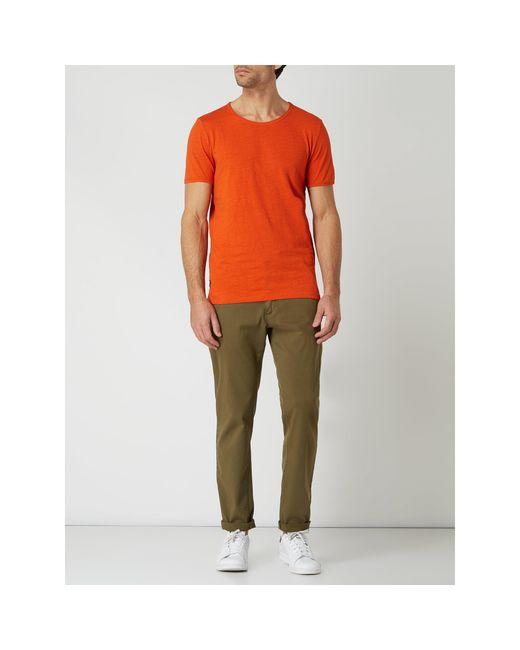SELECTED T-Shirt aus Slub Jersey Modell 'Morgan' in Red für Herren