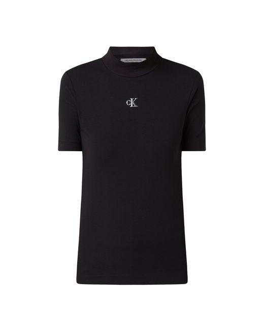 Calvin Klein Black T-Shirt aus Baumwoll-Elasthan-Mix