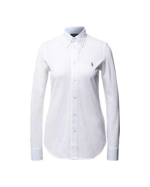 Polo Ralph Lauren White Skinny Fit Bluse aus Piqué