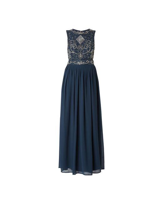 LACE & BEADS Blue Abendkleid aus Krepp mit Cut Out