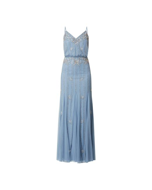LACE & BEADS Blue Abendkleid aus Tüll im Godet-Stil Modell 'Keeva'