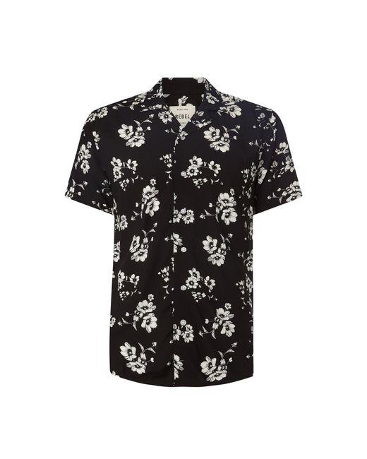 Redefined Rebel Comfort Fit Freizeithemd aus Viskose Modell 'Luke' in Black für Herren