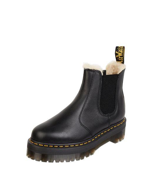 Dr. Martens Black Chelsea Boots mit Kunstfellfutter Modell '2976 Quad'