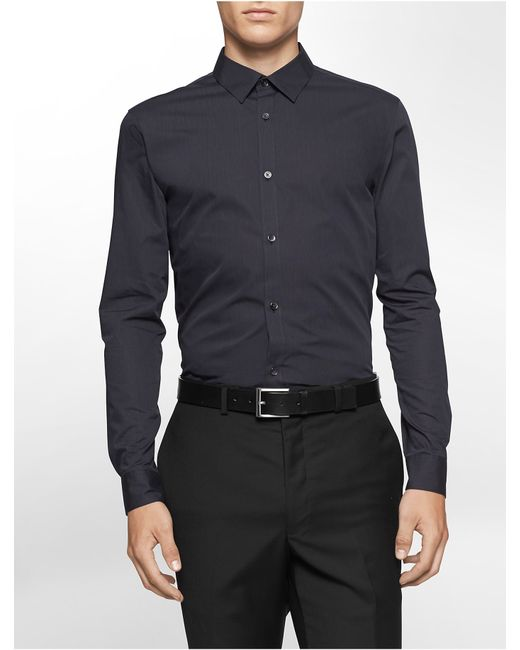 Calvin Klein | Black Classic Fit Non-iron Ministripe Cotton Stretch Shirt for Men | Lyst