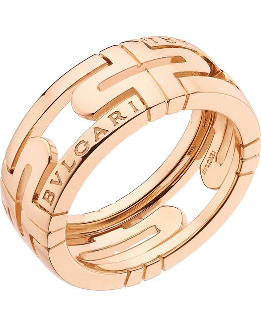 BVLGARI | Parentesi 18ct Pink-gold Ring | Lyst