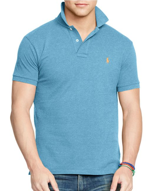 Polo Ralph Lauren | Slim Fit Polo Shirt With Logo In Blue for Men | Lyst