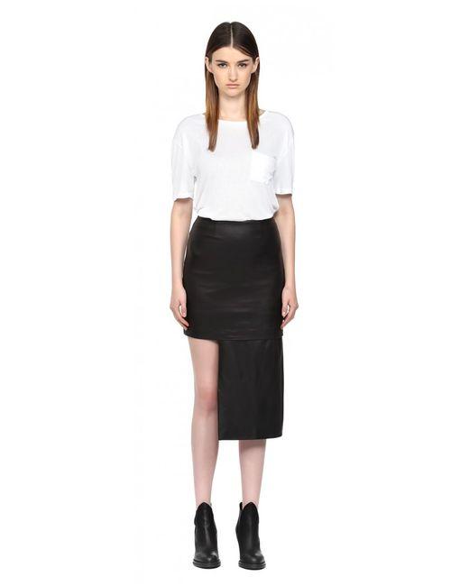mackage rikka black leather asymmetrical skirt in black lyst