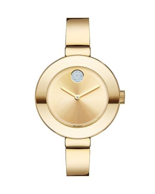 Movado | Metallic 'bold' Crystal Accent Bangle Watch | Lyst