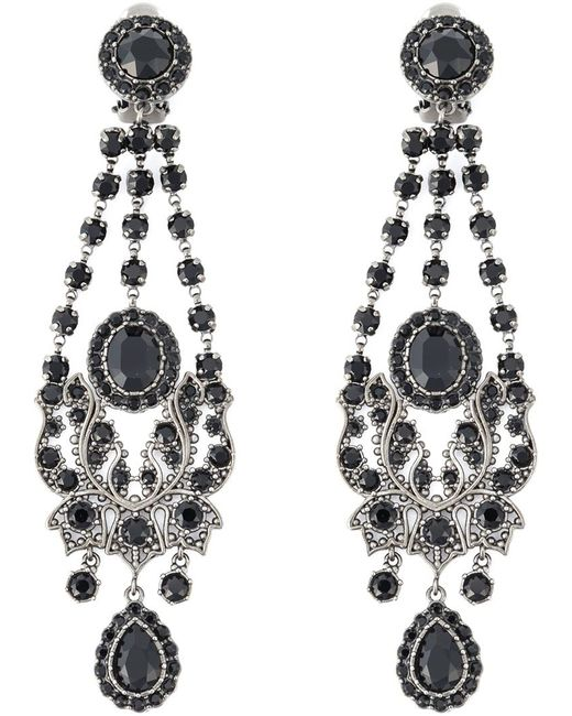 Red Givenchy Chandelier Earrings: Givenchy Victorian Chandelier Clip-on Earrings In Silver