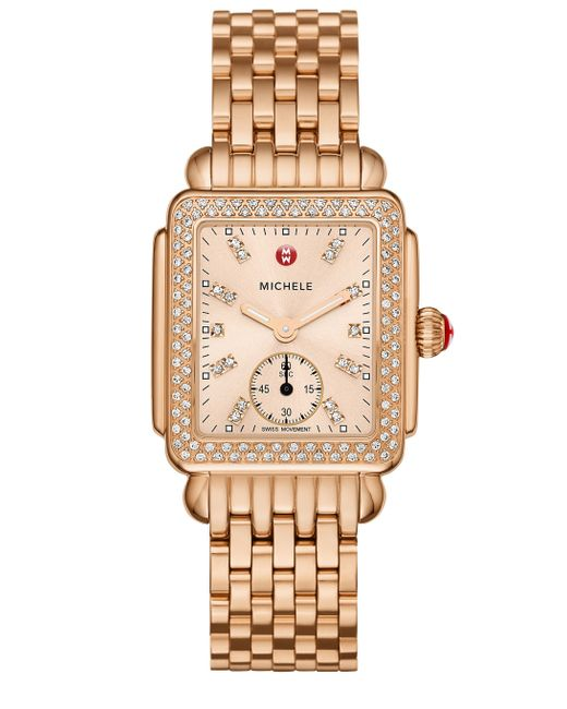 Michele deco 16 diamond 18k rose goldplated stainless for Deco maison rose gold