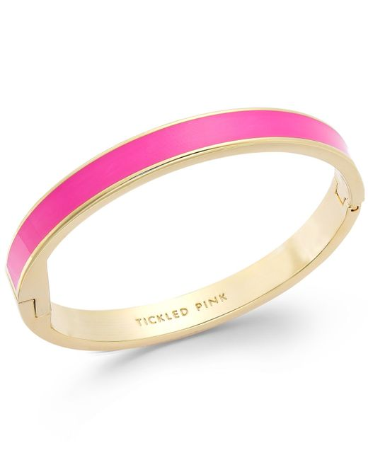 kate spade new york | Gold-tone Tickled Pink Idiom Bangle Bracelet | Lyst