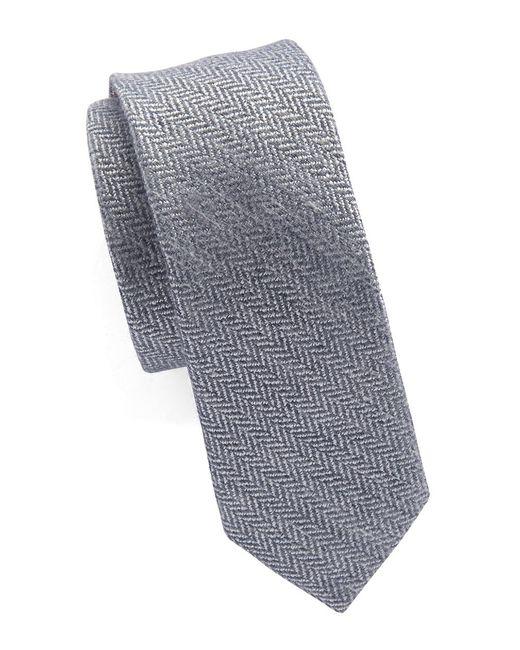 Original Penguin | Blue Silk And Cotton Herringbone Tie for Men | Lyst