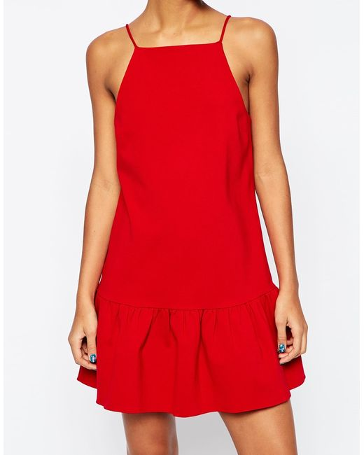 ASOS | Red Dress With Dropped Puff Hem | Lyst
