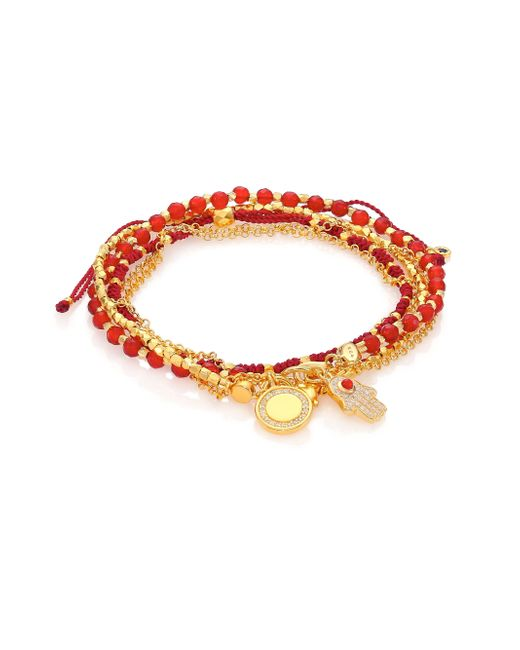 Astley Clarke | Metallic Biography Hamsa In Safe Hands White Sapphire, Red Agate & Carnelian Silken Beaded Charm Bracelet | Lyst