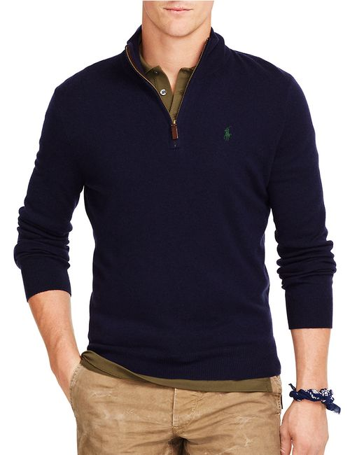 Polo Ralph Lauren | Blue Merino Half-zip Sweater for Men | Lyst