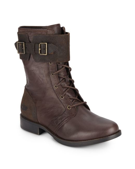 ugg maaverik leather boots in brown lodge save 32 lyst