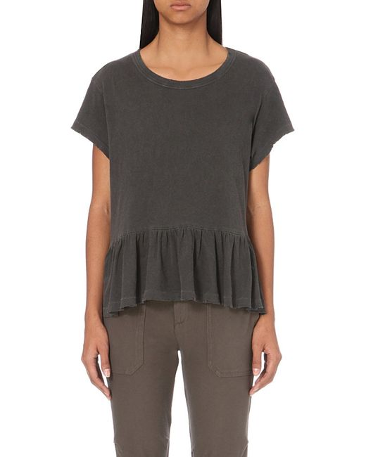 The Great | Black Frilled-hem Cotton-jersey T-shirt | Lyst