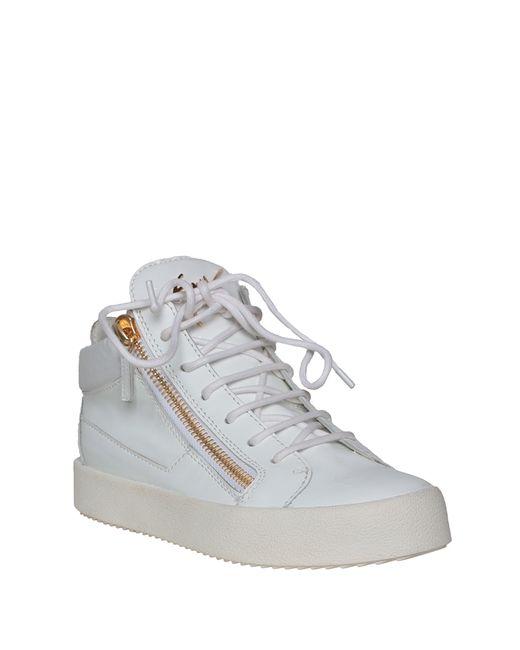 giuseppe zanotti patent sneakers with zip in white bianco
