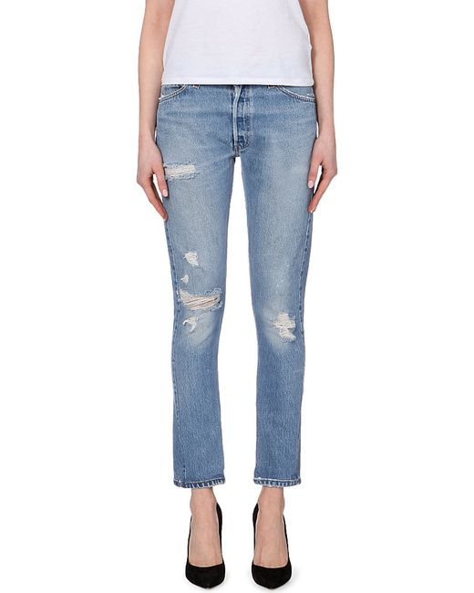 RE/DONE | Blue Distressed Straight Mid-rise Jeans | Lyst