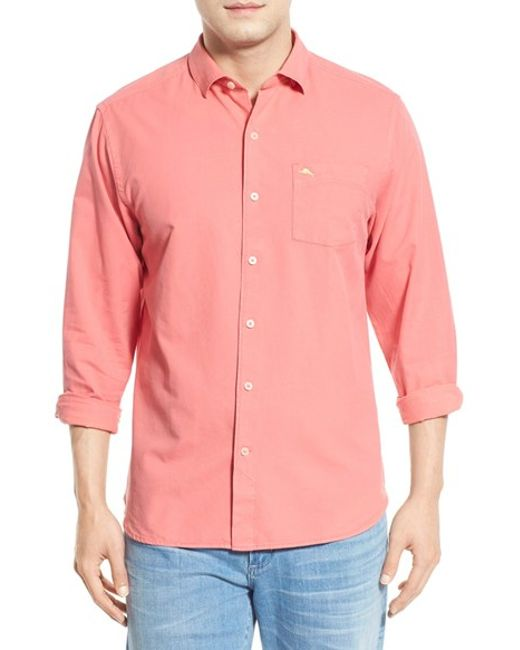 Tommy bahama 39 islant twill 39 sport shirt in pink for men for Tommy bahama florida shirt