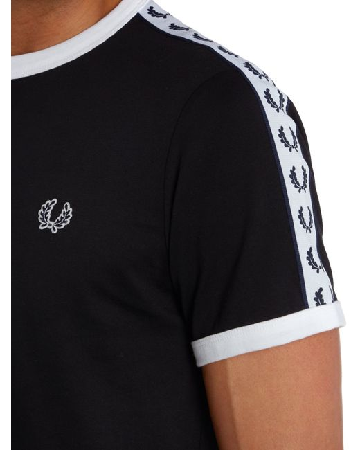 Fred Perry | Black Plain Crew Neck Regular Fit T-shirt for Men | Lyst